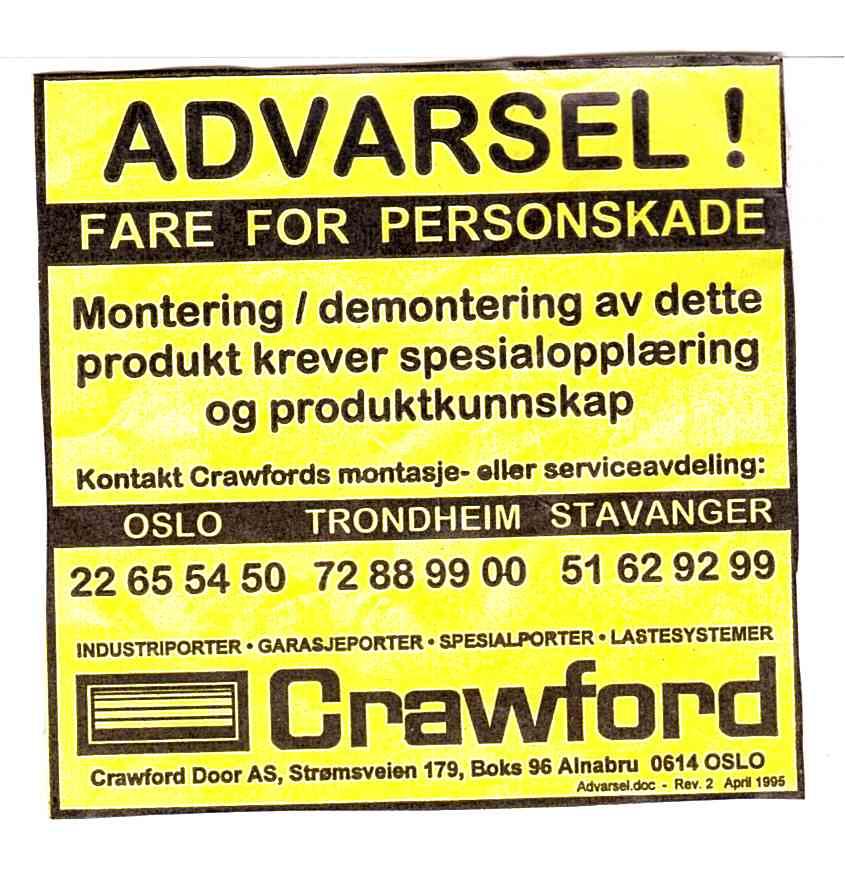 advarsel crawford skilt